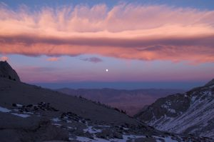 Sunset, looking east, and moonrise Mt Whiteny