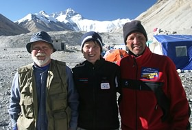 Rory Vose, Heather Vose Ulrich, and Marshall Ulrich at Mount Everest base camp